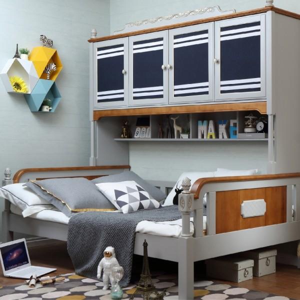 男孩房单人床书架 实木地中海风格单人床书架 男童带书架单人床_6082-01