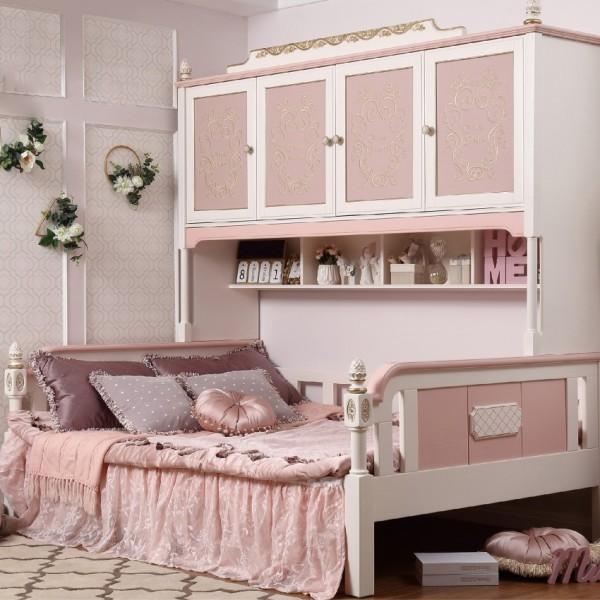 女童轻奢公主床带四门小柜子  实木粉色公主床书柜衣柜_6083-01