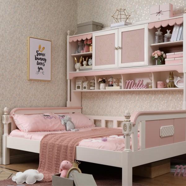 女孩房单人床书架 实木粉色单人床书架 女孩公主单人床书架_6081-01