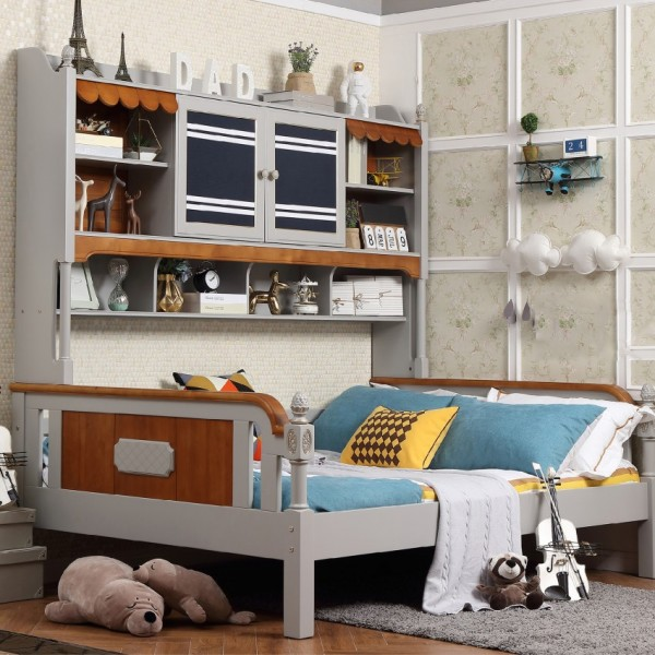 儿童套房单人床+书架 男孩房美式风格单人床书架 实木男孩床书架_6080-01