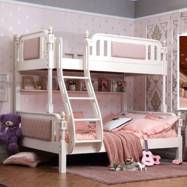 儿童轻奢上下铺粉色公主床 实木粉色公主床公主上下铺儿童床_6065-01