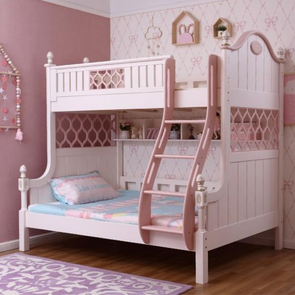 欧式女童上下铺 白色内楼梯上下铺 实木内楼梯女孩上下铺_6063-01