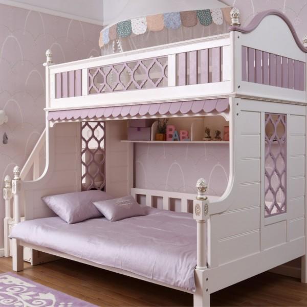 紫色女孩上下铺  纯实木白色和紫色拼接上下铺 女童公主上下铺_6062-01