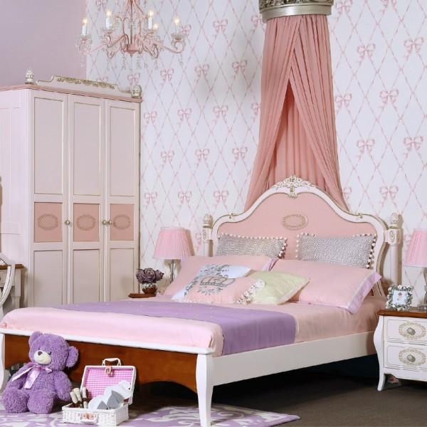粉色公主套房粉色单人床三门衣柜书桌  欧式实木公主套房床三门衣柜书桌_6007-01