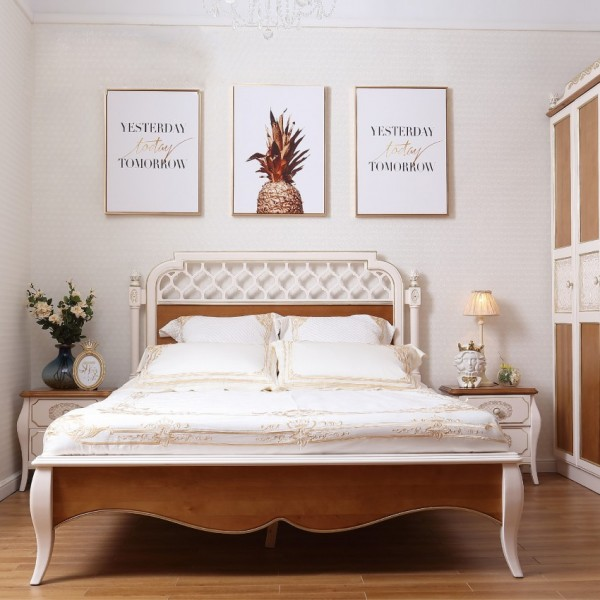 儿童套房双人床三门衣柜学习桌 浅色系实木儿童套房床衣柜学习桌组合_6006-01