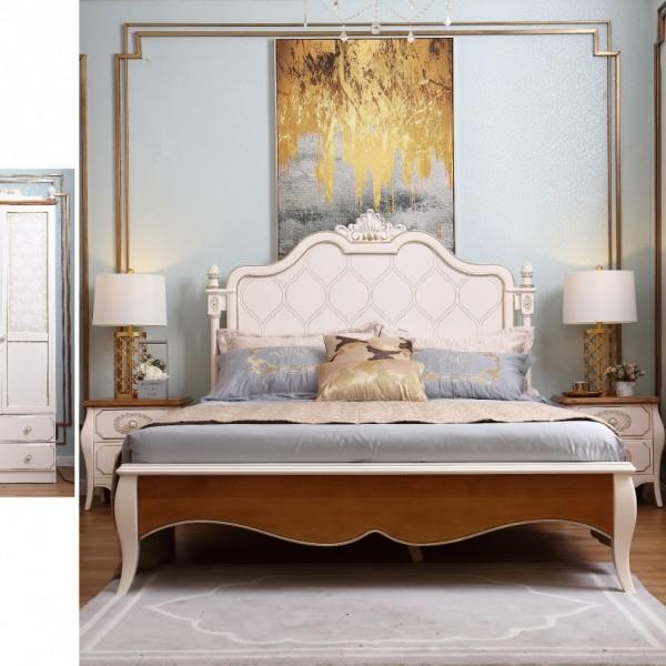 儿童套房1.5米实木床三门衣柜学习桌 简约欧式1.5米公主床三门衣柜学习桌_6005-01