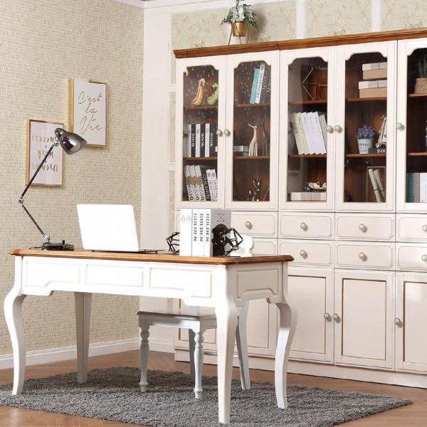 实木白色简约书桌书柜 简约欧式书桌书柜 时尚轻奢书柜书桌_6K17-19-01
