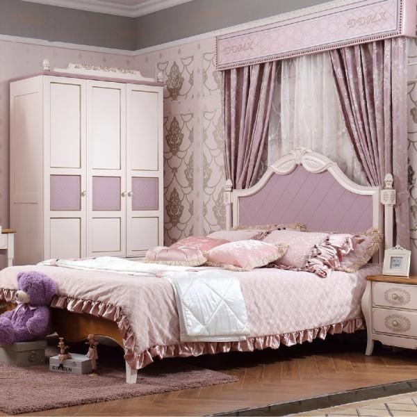 女孩粉色套房粉色公主床三门衣柜学习桌 实木白色1.5米公主床三门衣柜带书架书桌_6003-01