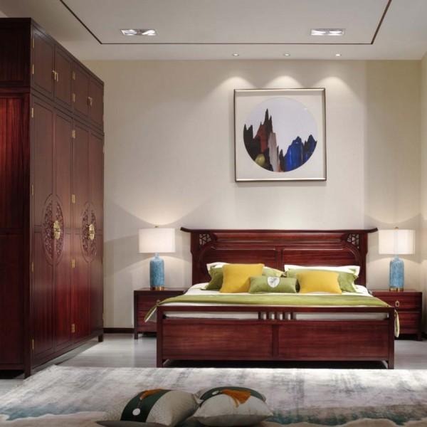汉檀韵新中式实木家具卧房四件套花格床9101带顶箱衣柜9103