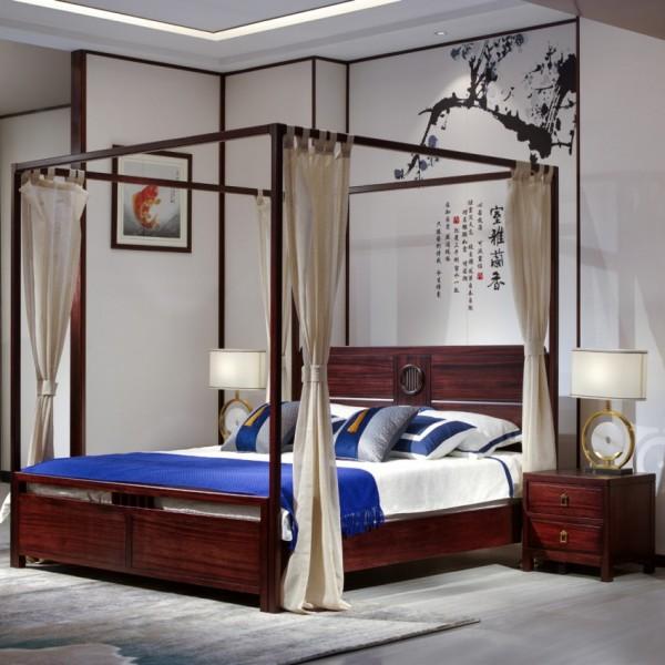 汉檀韵新中式实木家具实木大床带床架9102