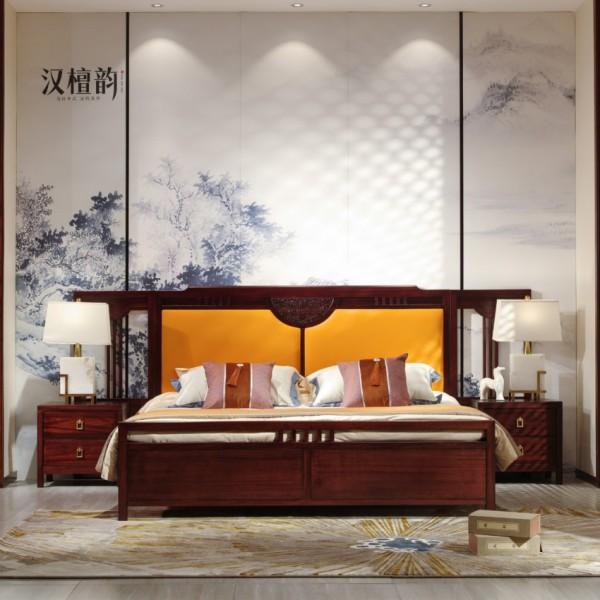 汉檀韵新中式实木家具实木大床带床头屏9103 床头柜