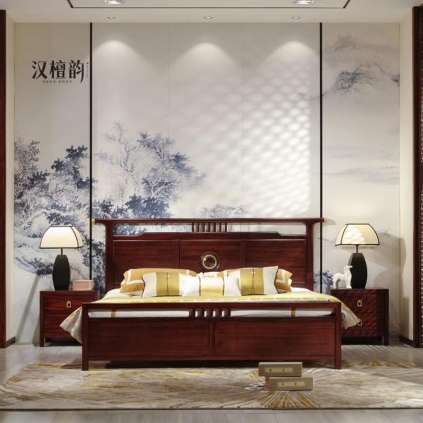 汉檀韵新中式实木家具宋式带官帽1.8米大床9104 床头柜