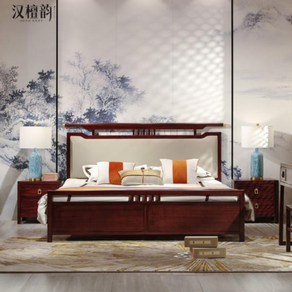 汉檀韵新中式实木家具宋式实木大床杏色床头9105T 床头柜 梳妆台9101