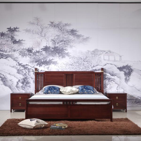 汉檀韵新中式实木家具宋式圆柱实木大床9106 床头柜