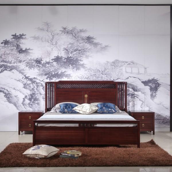汉檀韵新中式实木家具宋式实木大床 床头柜 9107