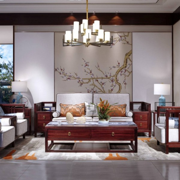 汉檀韵新中式实木家具 客厅沙发套9102