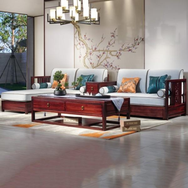 汉檀韵新中式实木家具客厅带中箱转角沙发套9104