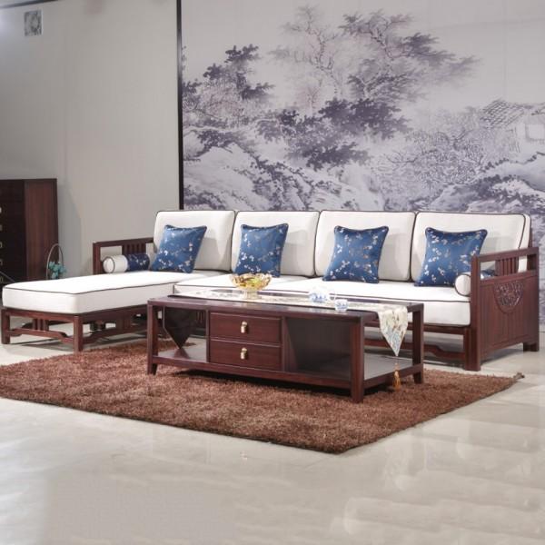 汉檀韵新中式实木家具客厅转角沙发套9105