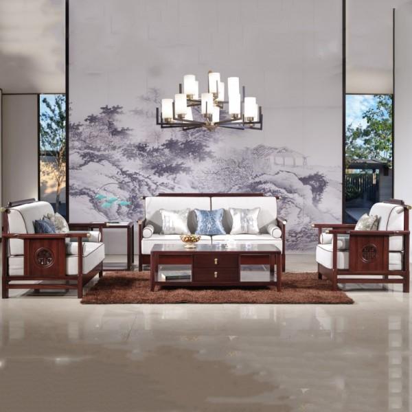 汉檀韵新中式实木家具沙发客厅官帽沙发套9107