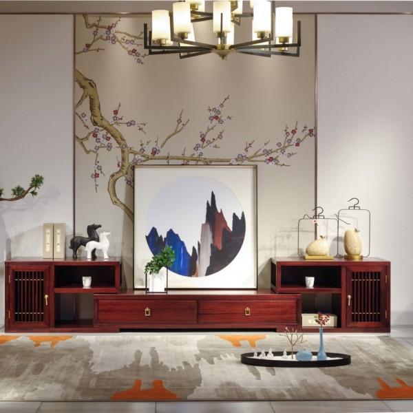 汉檀韵新中式实木家具客厅伸缩电视柜9101花架