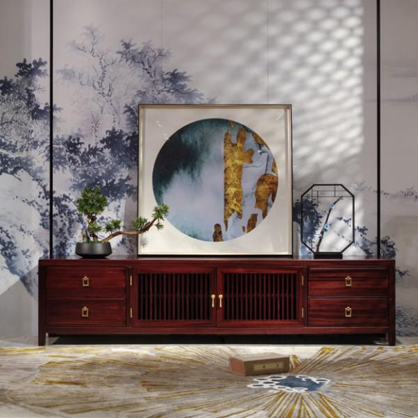 汉檀韵新中式实木家具客厅 电视柜9102