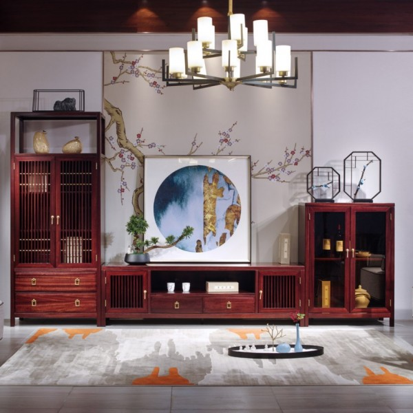 汉檀韵新中式实木家具客厅 电视柜组合柜9104、 9101、 9102