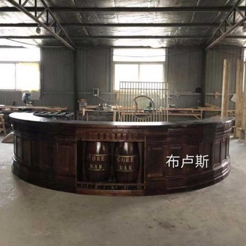 香河碳化木吧台酒柜实木饭店收银台民宿家具厂家半圆转角款式 (37播放)