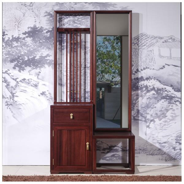 汉檀韵新中式实木家具门厅柜+镜子9102