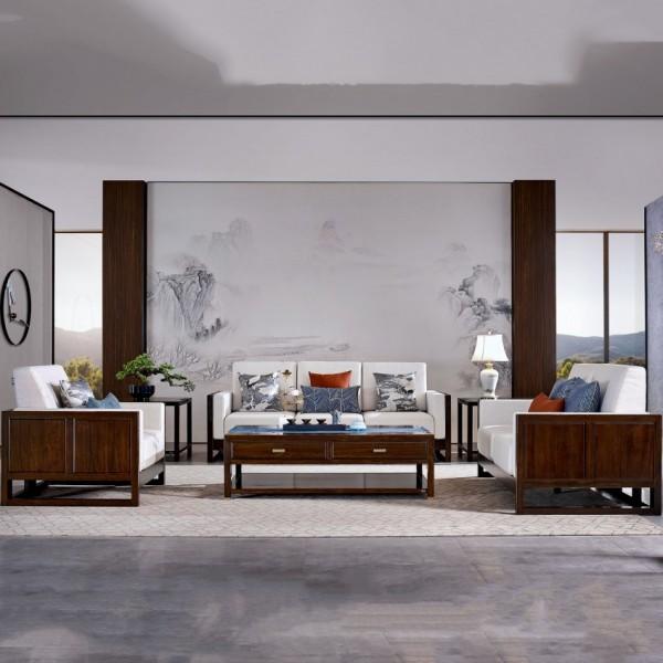 恒久一檀新中式实木家具客厅沙发套实木沙发大茶几角几