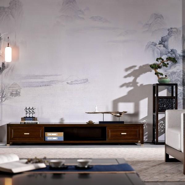 恒久一檀新中式实木家具客厅简约电视柜 花架