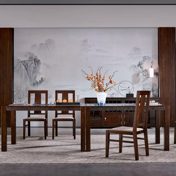 恒久一檀新中式实木家具餐厅餐桌椅餐边柜