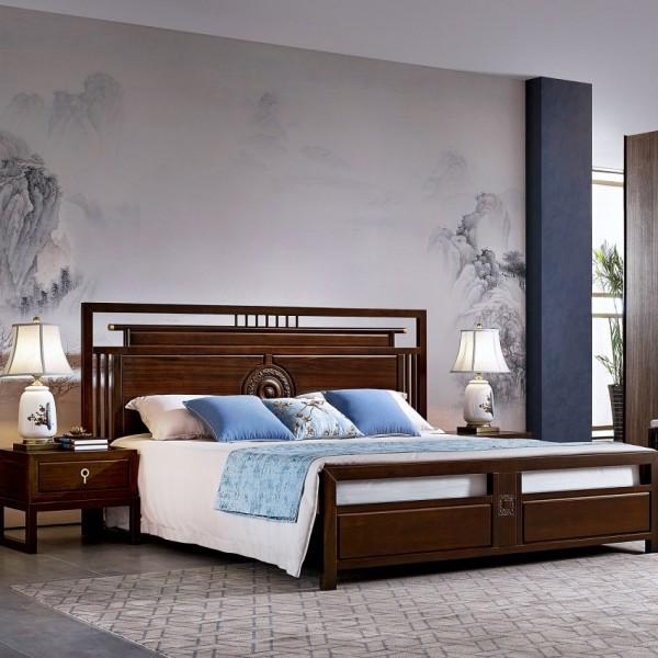 恒久一檀新中式实木家具卧房套实木床 四门衣柜 六斗柜