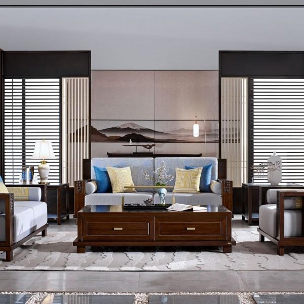 恒久一檀新中式实木家具客厅沙发套
