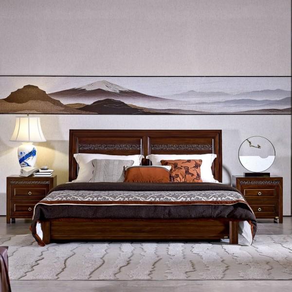 恒久一檀新中式实木家具卧房实木大床床头柜