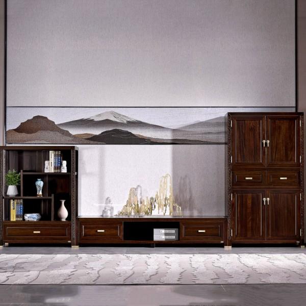 恒久一檀新中式实木家具客厅组合电视柜 边柜