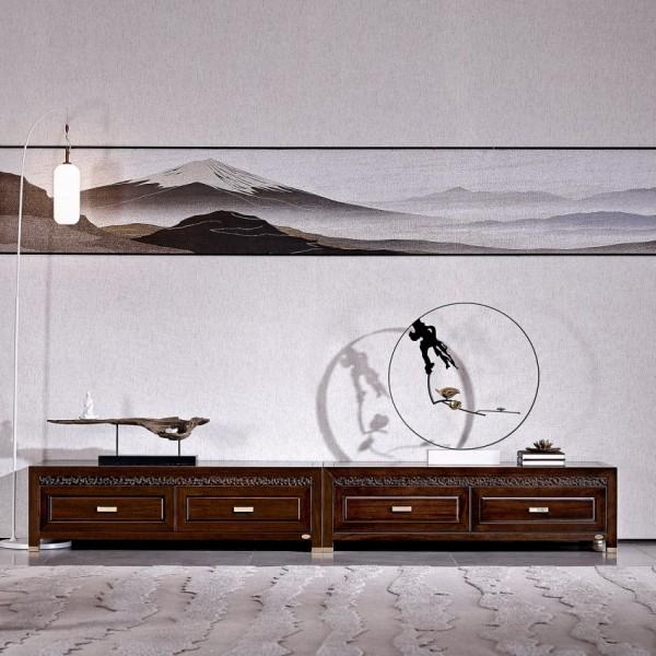 恒久一檀新中式实木家具客厅电视柜