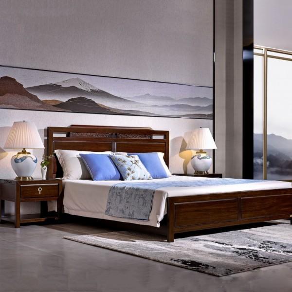 恒久一檀新中式实木家具卧房实木大床 床头柜