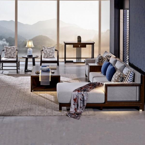 恒久一檀新中式实木家具客厅转角沙发套 休闲椅