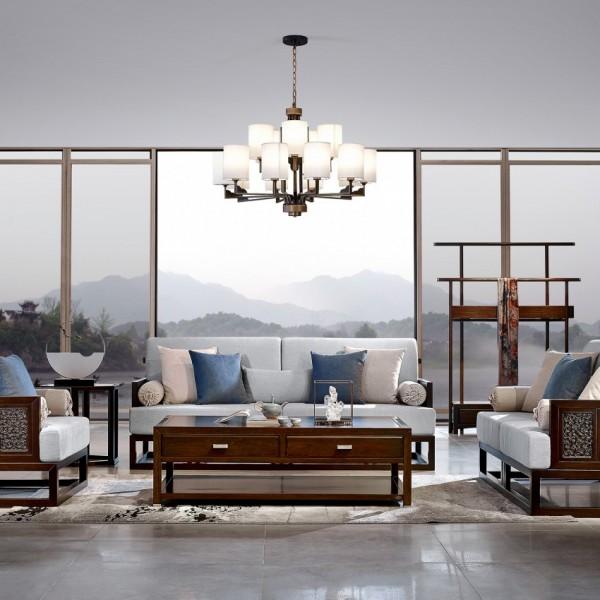 恒久一檀新中式实木家具客厅沙发套 休闲椅 衣架