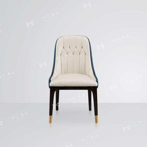 后现代轻奢真皮餐椅品