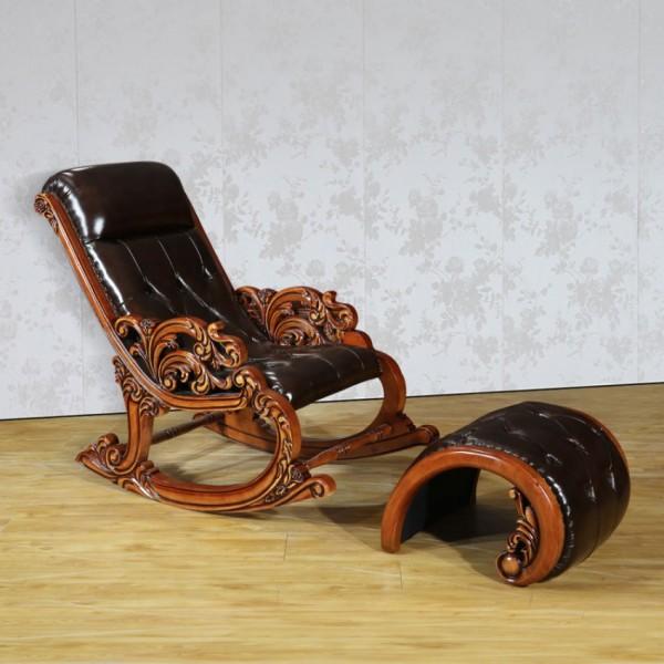 欧式真皮实木摇椅椅子