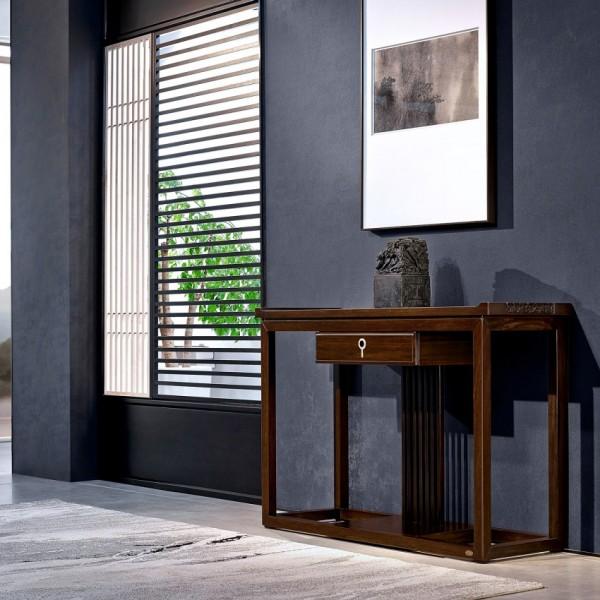 恒久一檀新中式实木家具实木玄关柜