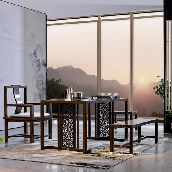 恒久一檀新中式实木家具茶桌茶椅茶凳