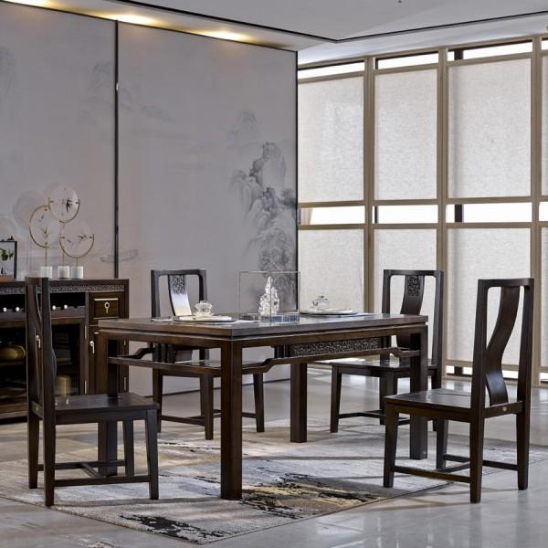 恒久一檀新中式实木家具餐桌餐椅套装 餐边柜