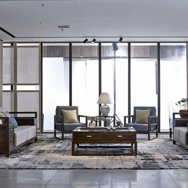 恒久一檀新中式实木家具客厅沙发套 休闲椅 屏风