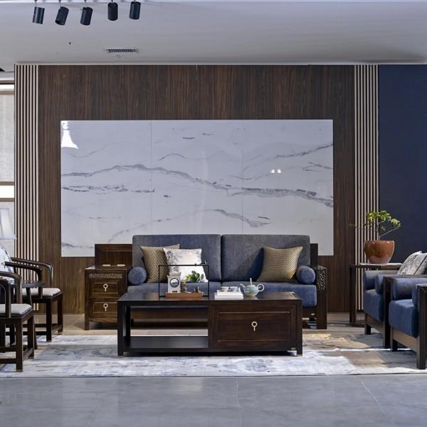 恒久一檀新中式实木家具客厅沙发套 休闲椅 角几