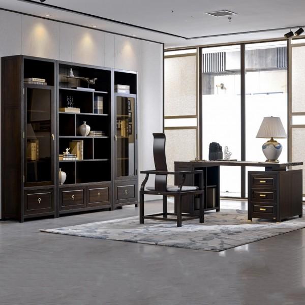 恒久一檀新中式实木家具书房套 书桌椅 书柜