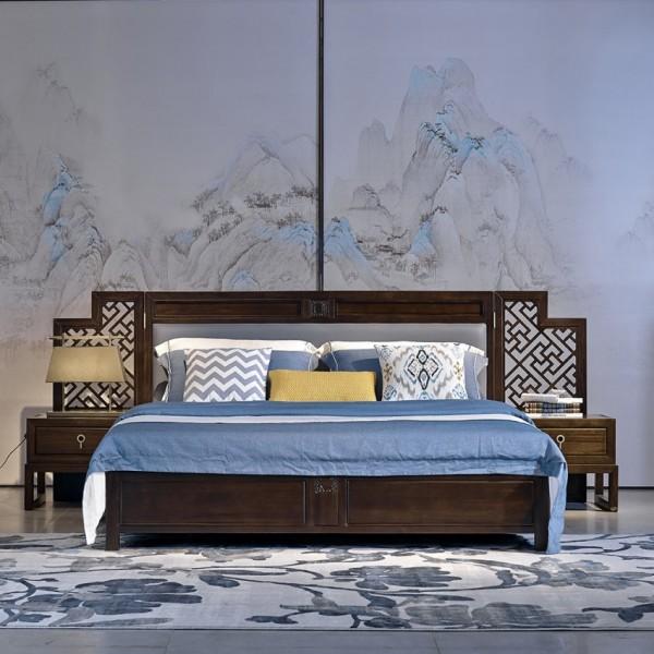 恒久一檀新中式实木家具卧室实木大床 床头柜