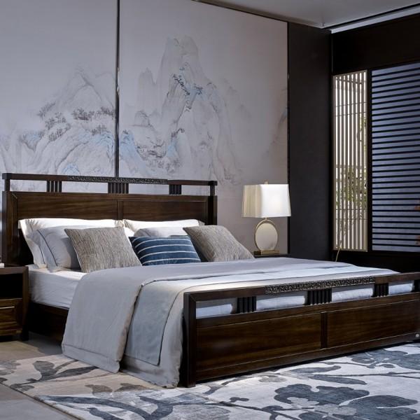 恒久一檀新中式实木家具卧房实木大床