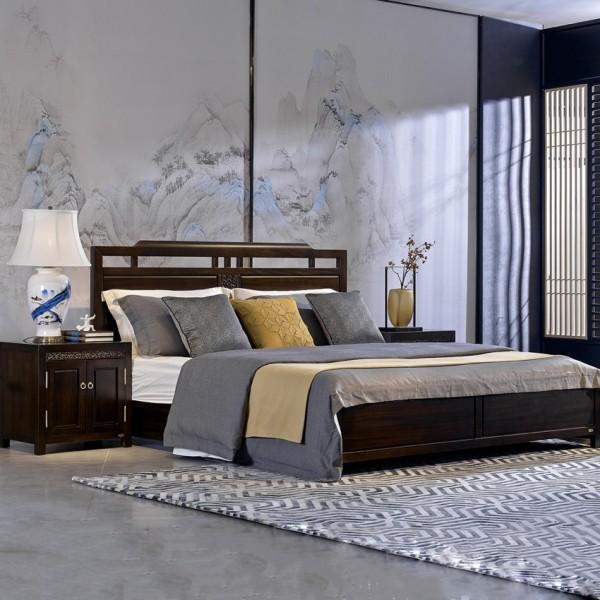 恒久一檀新中式实木家具卧房实木床 床头柜